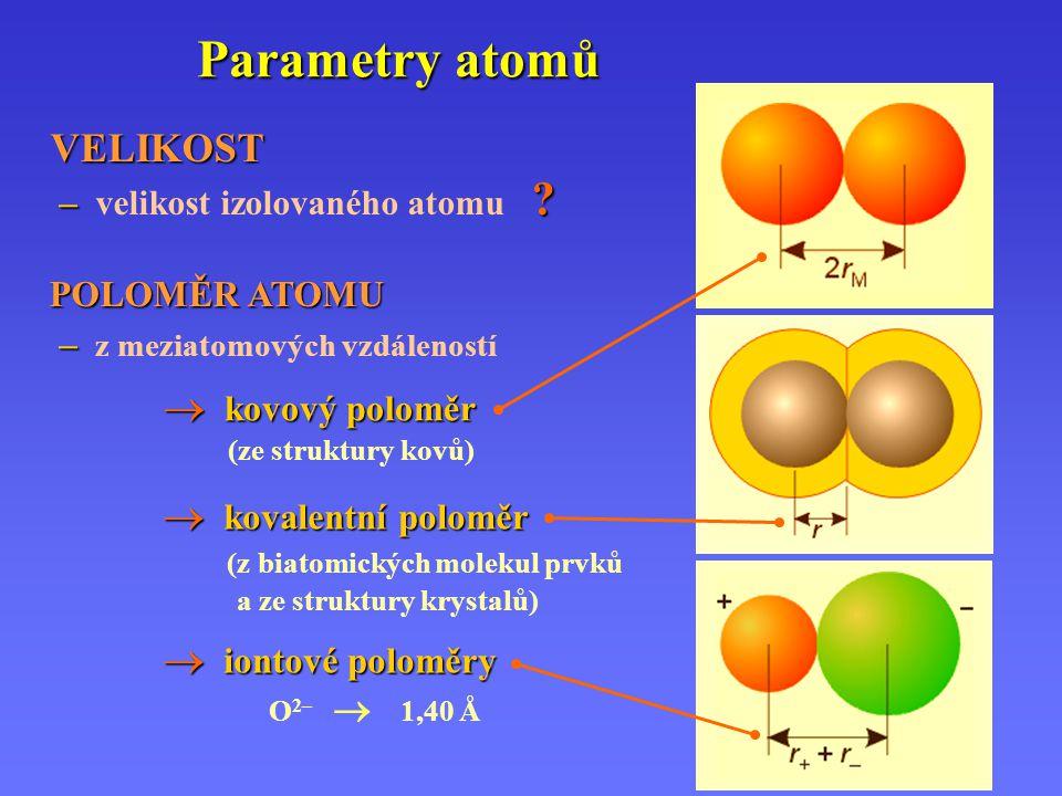 Parametry atomů VELIKOST – velikost izolovaného atomu POLOMĚR ATOMU