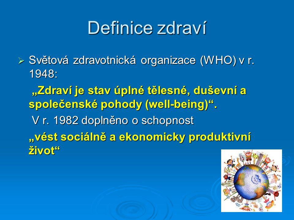 Definice zdraví Světová zdravotnická organizace (WHO) v r. 1948: