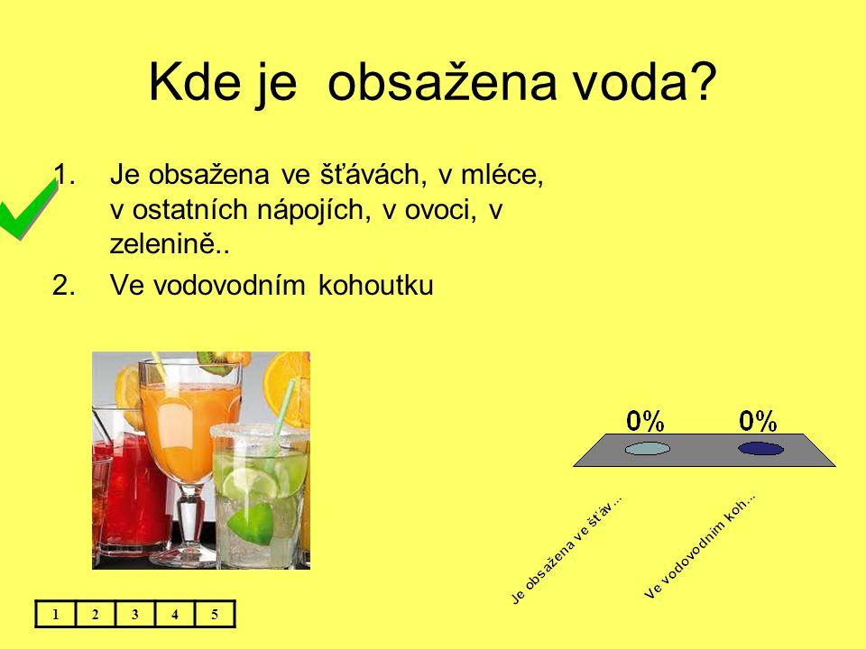 Kde je obsažena voda Je obsažena ve šťávách, v mléce, v ostatních nápojích, v ovoci, v zelenině..