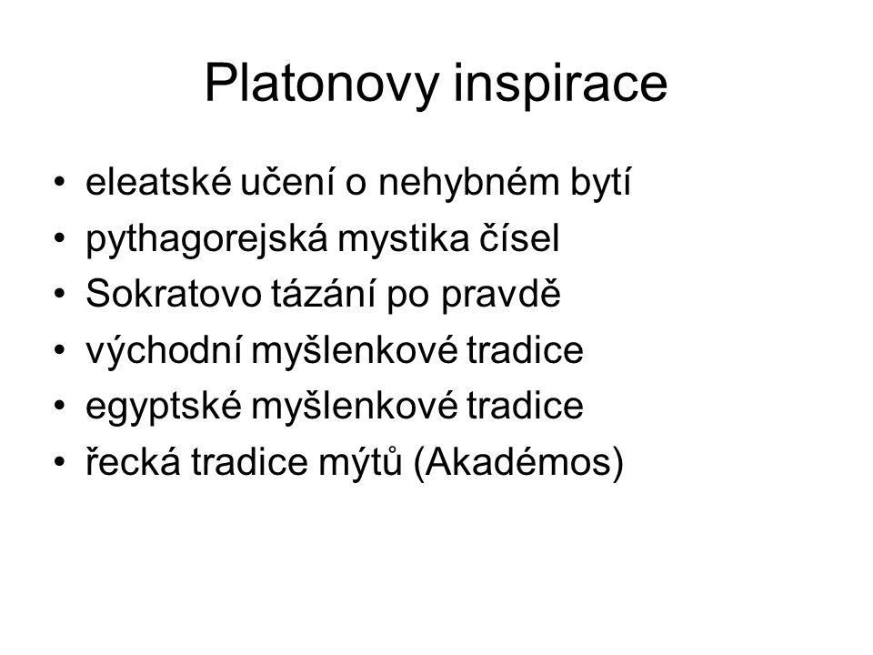 Platonovy inspirace eleatské učení o nehybném bytí