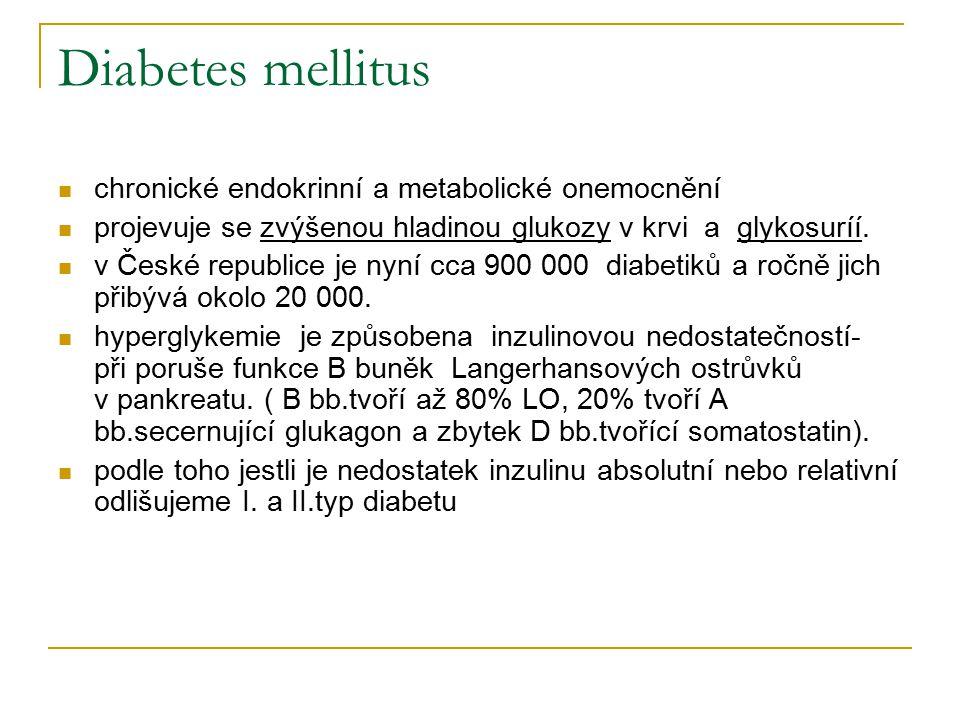 Diabetes mellitus chronické endokrinní a metabolické onemocnění