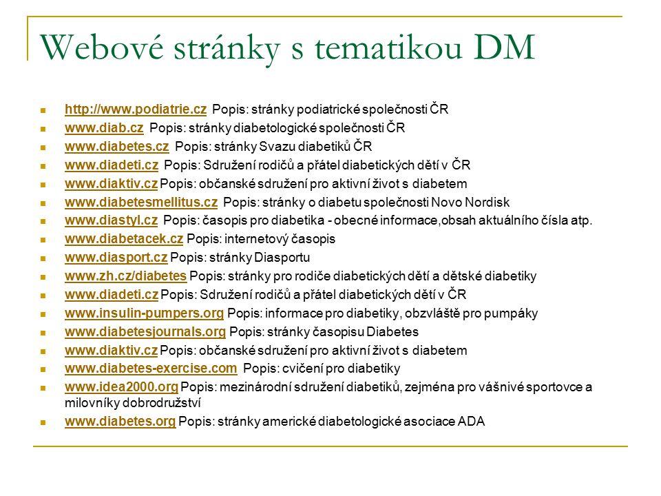 Webové stránky s tematikou DM