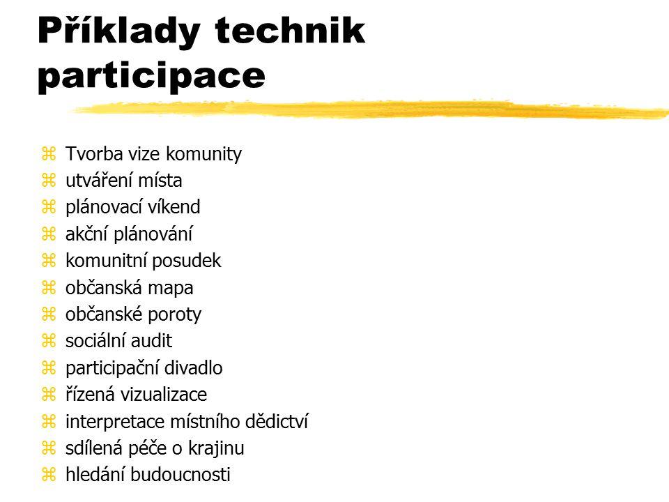 Příklady technik participace