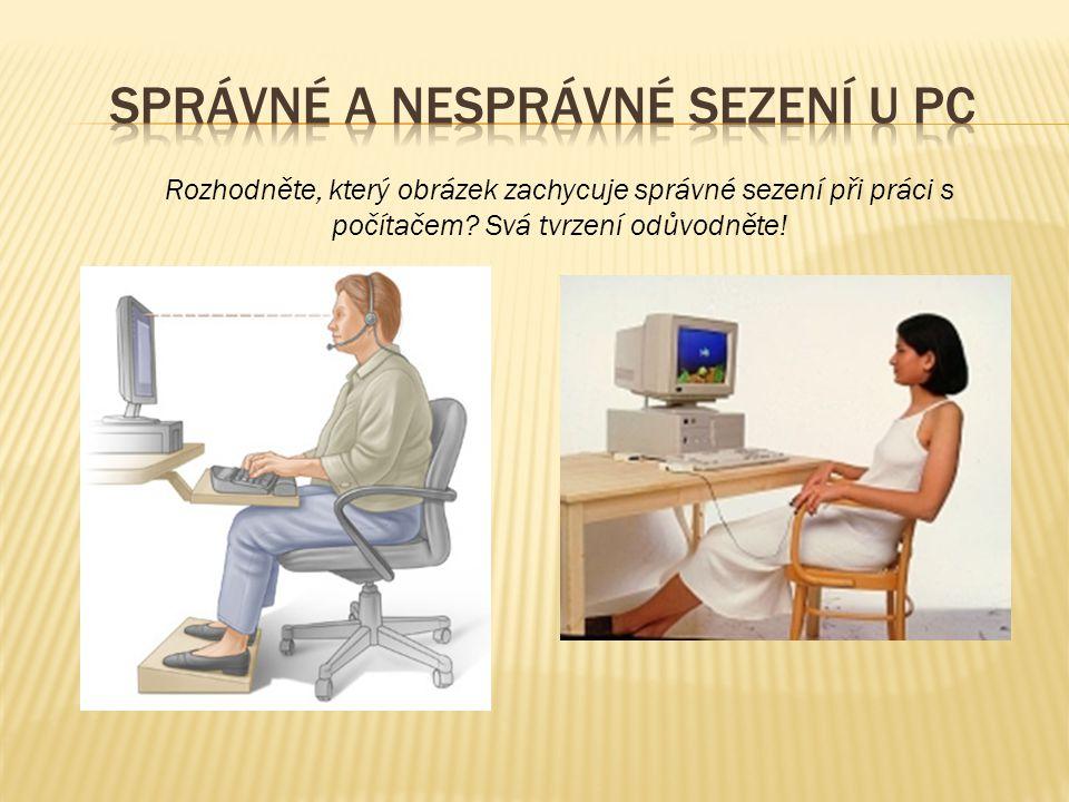 Správné a nesprávné sezení u PC