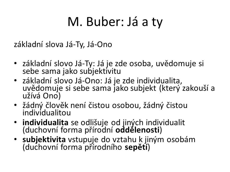 M. Buber: Já a ty základní slova Já-Ty, Já-Ono