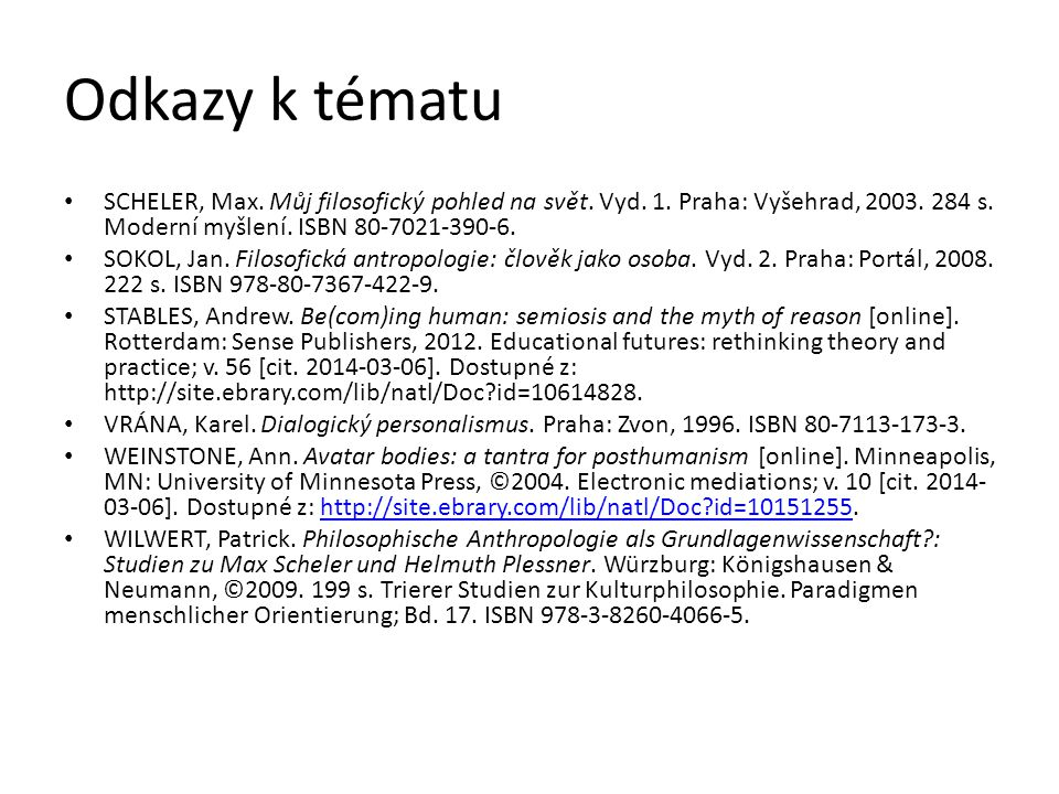 Odkazy k tématu Scheler, Max. Můj filosofický pohled na svět. Vyd. 1. Praha: Vyšehrad, 2003. 284 s. Moderní myšlení. ISBN 80-7021-390-6.