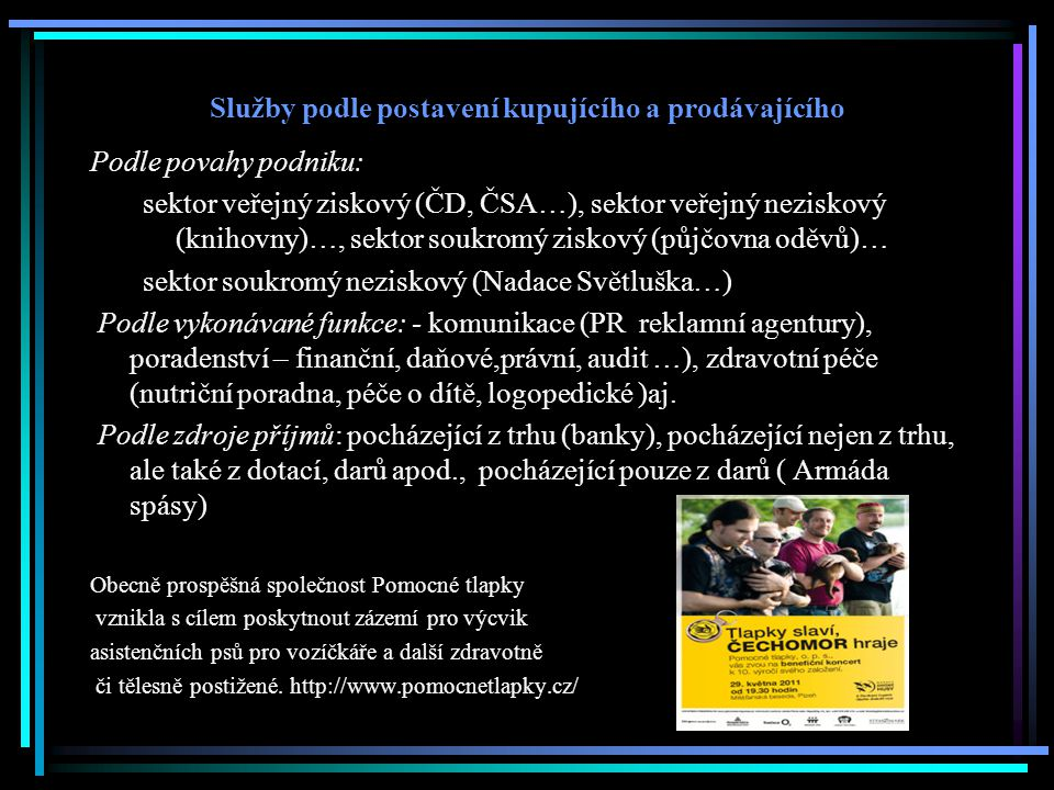 Služby podle postavení kupujícího a prodávajícího