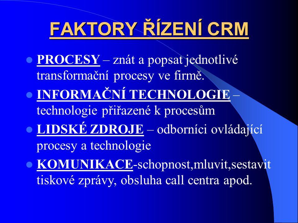 FAKTORY ŘÍZENÍ CRM PROCESY – znát a popsat jednotlivé transformační procesy ve firmě. INFORMAČNÍ TECHNOLOGIE –technologie přiřazené k procesům.