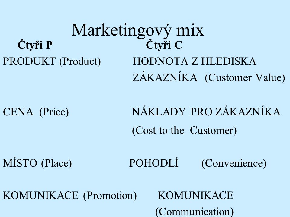 Marketingový mix (Cost to the Customer) Čtyři P Čtyři C