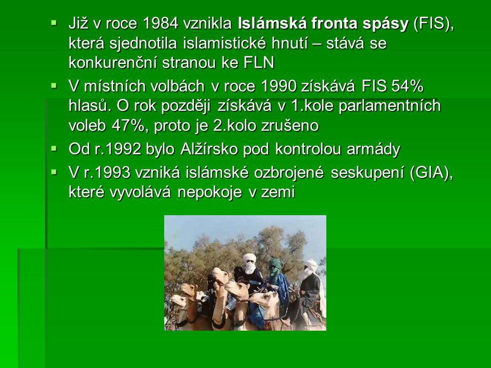 Již v roce 1984 vznikla Islámská fronta spásy (FIS), která sjednotila islamistické hnutí – stává se konkurenční stranou ke FLN