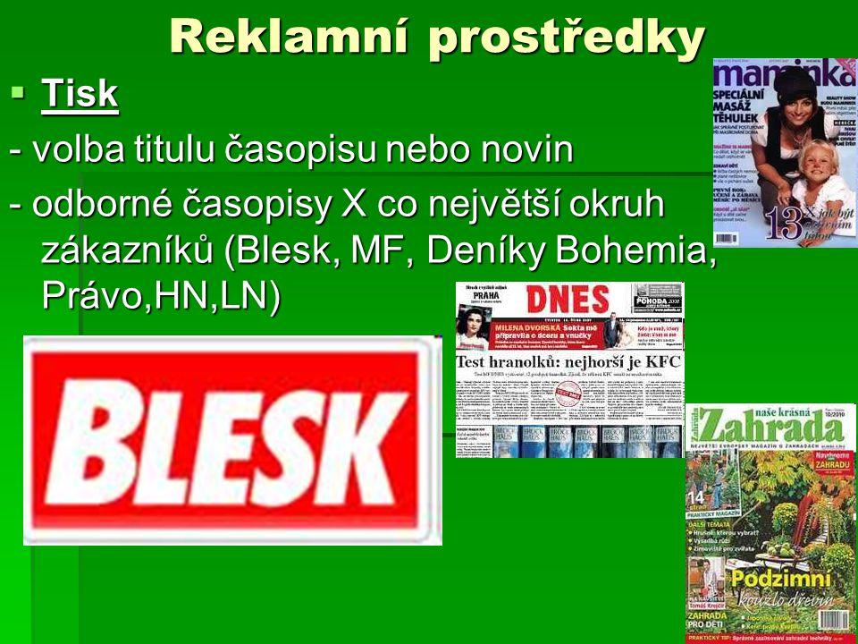 Reklamní prostředky Tisk - volba titulu časopisu nebo novin