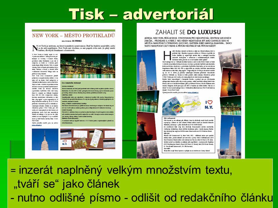 """Tisk – advertoriál """"tváří se jako článek"""