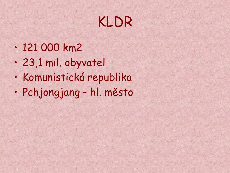 KLDR 121 000 km2 23,1 mil. obyvatel Komunistická republika