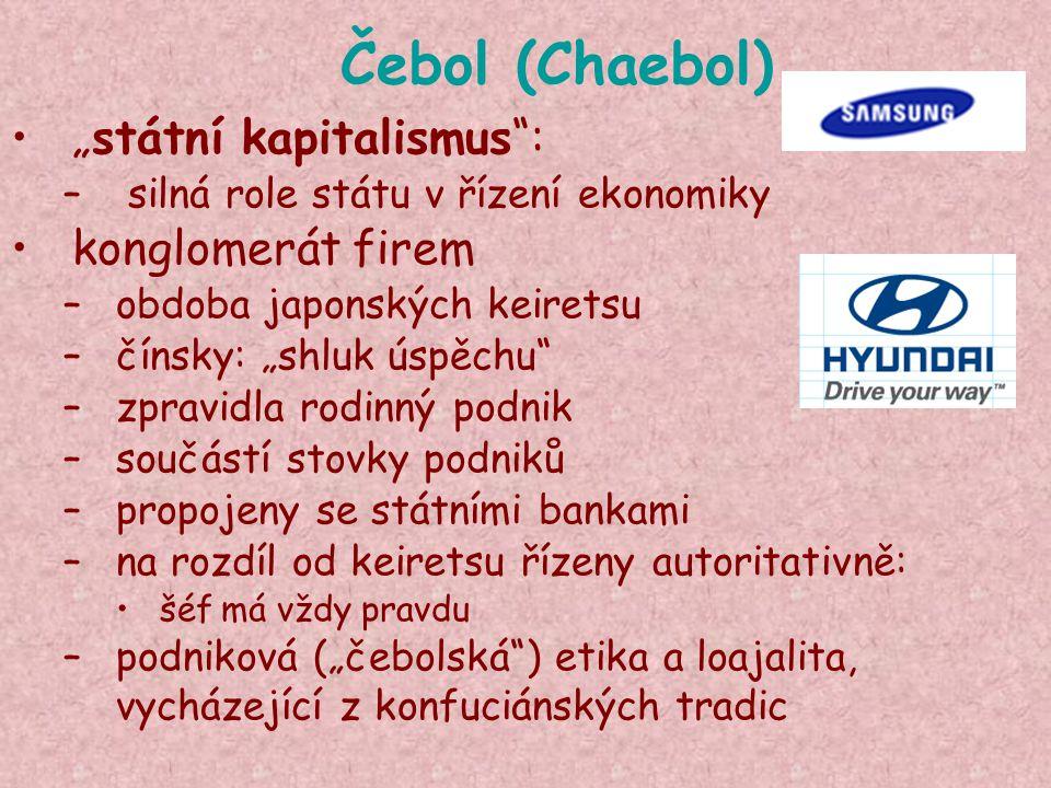 """Čebol (Chaebol) """"státní kapitalismus : konglomerát firem"""