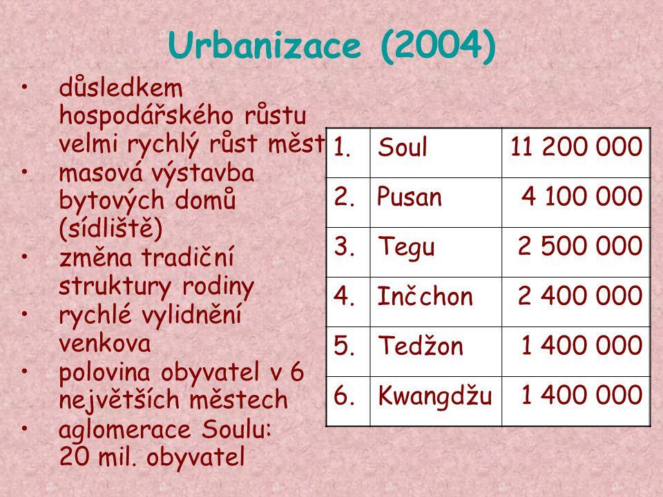 Urbanizace (2004) důsledkem hospodářského růstu velmi rychlý růst měst