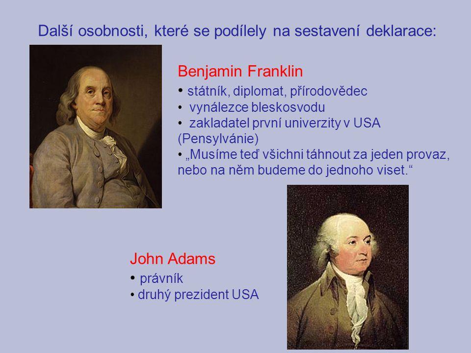 Další osobnosti, které se podílely na sestavení deklarace: