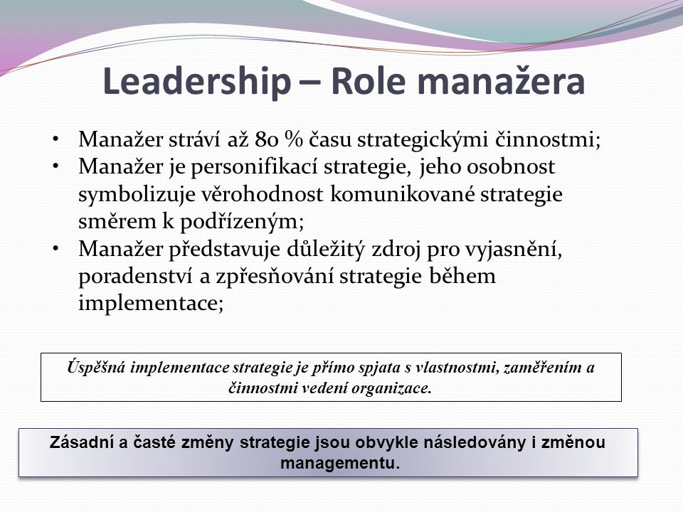 Leadership – Role manažera