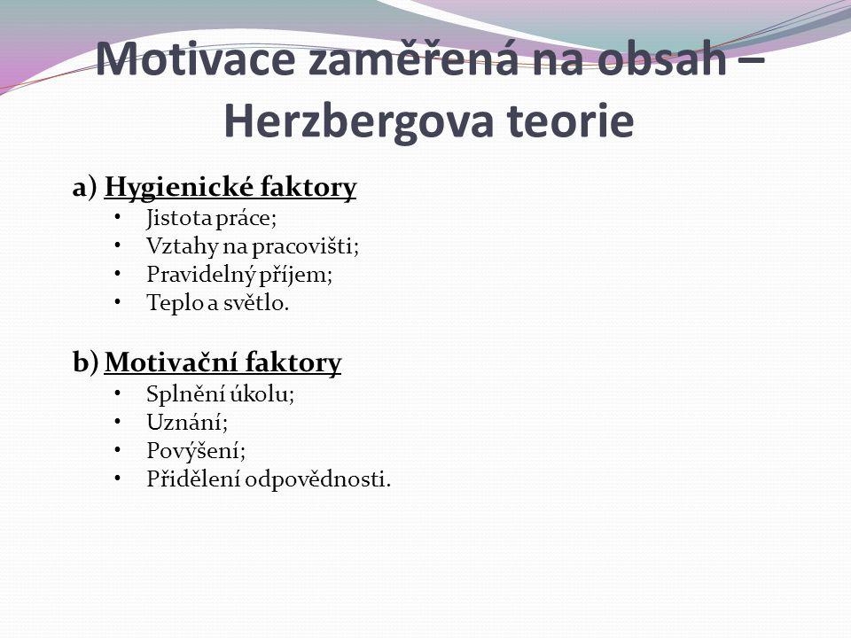 Motivace zaměřená na obsah – Herzbergova teorie