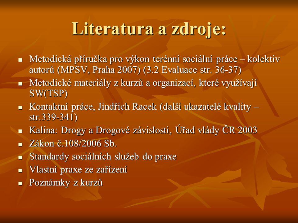Literatura a zdroje: Metodická příručka pro výkon terénní sociální práce – kolektiv autorů (MPSV, Praha 2007) (3.2 Evaluace str. 36-37)
