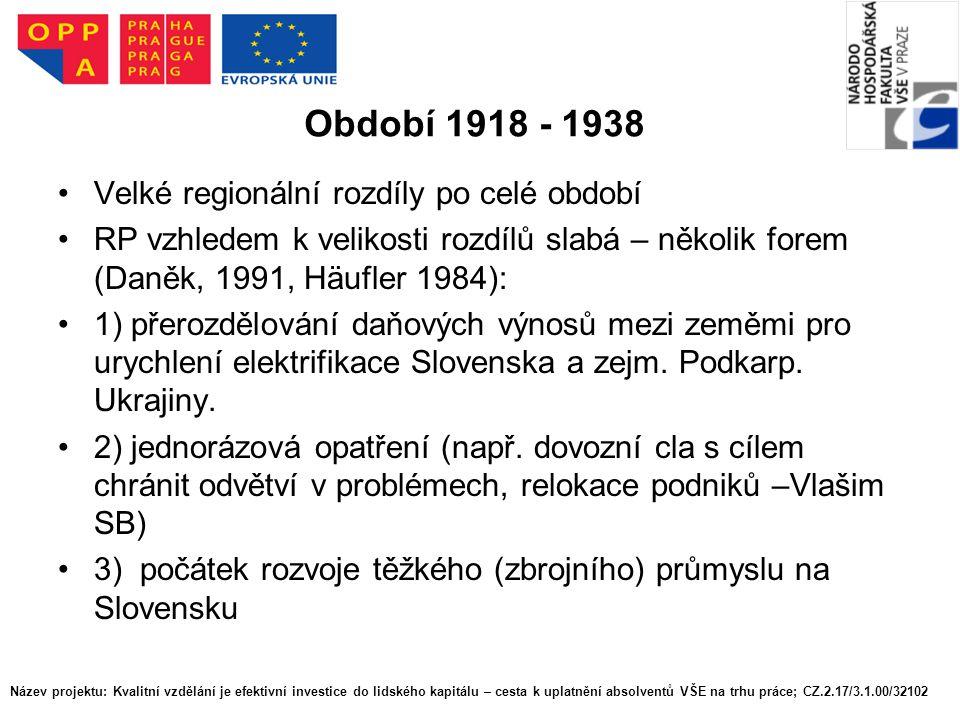 Období 1918 - 1938 Velké regionální rozdíly po celé období