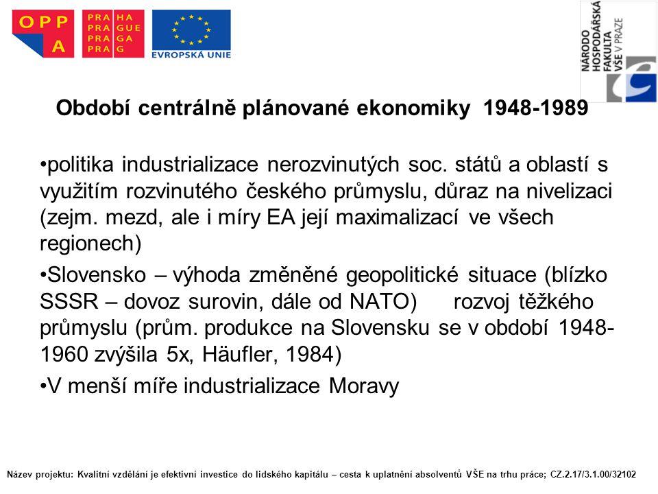 Období centrálně plánované ekonomiky 1948-1989