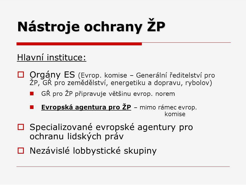 Nástroje ochrany ŽP Hlavní instituce:
