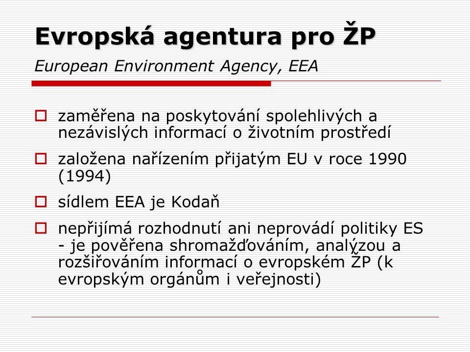 Evropská agentura pro ŽP European Environment Agency, EEA