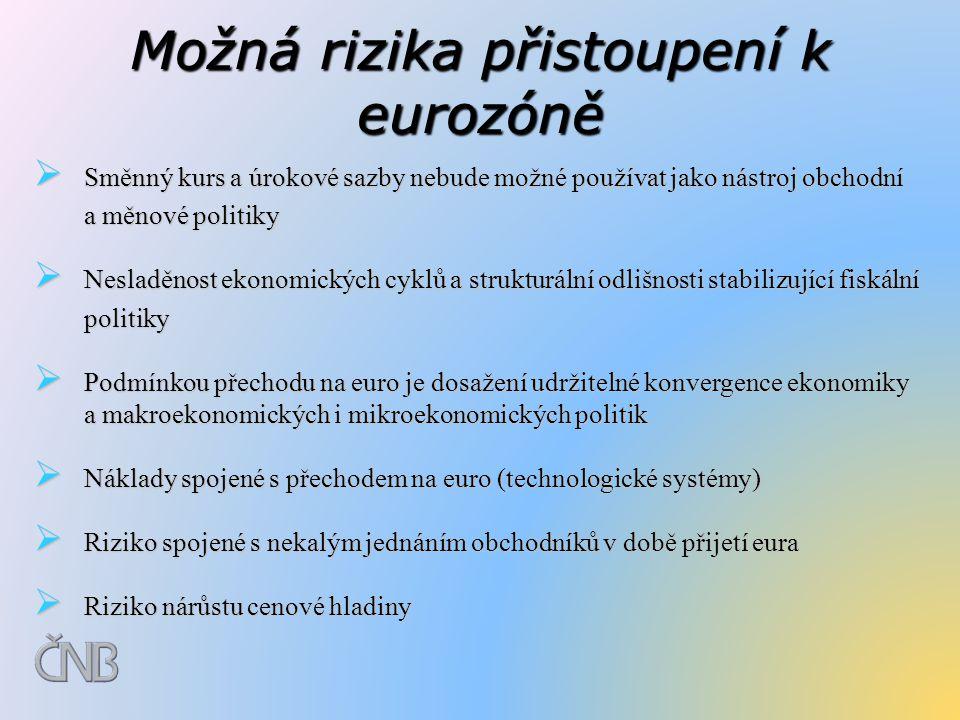 Možná rizika přistoupení k eurozóně