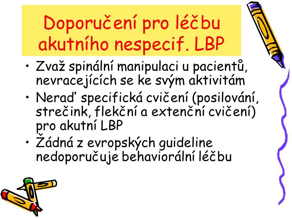 Doporučení pro léčbu akutního nespecif. LBP