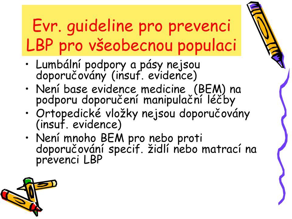 Evr. guideline pro prevenci LBP pro všeobecnou populaci