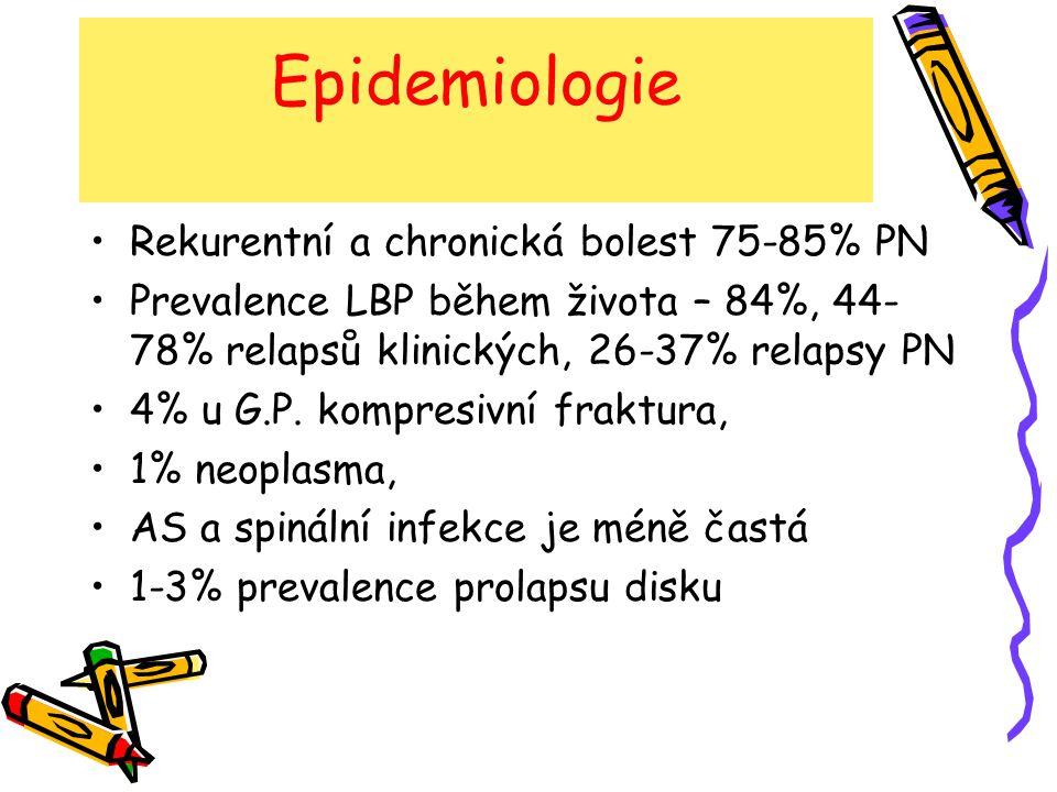 Epidemiologie Rekurentní a chronická bolest 75-85% PN