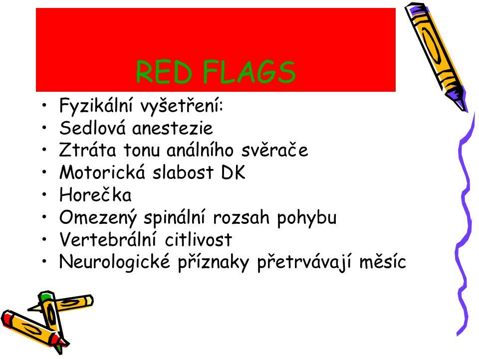 RED FLAGS Fyzikální vyšetření: Sedlová anestezie