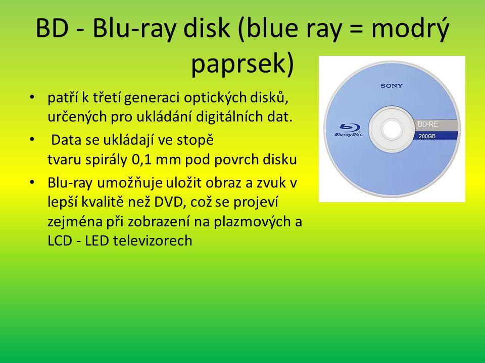 BD - Blu-ray disk (blue ray = modrý paprsek)