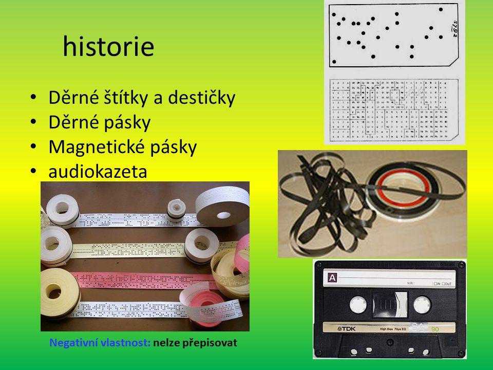 historie Děrné štítky a destičky Děrné pásky Magnetické pásky