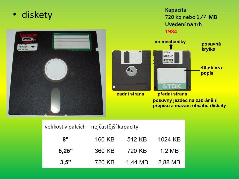 diskety Kapacita 720 kb nebo 1,44 MB Uvedení na trh 1984
