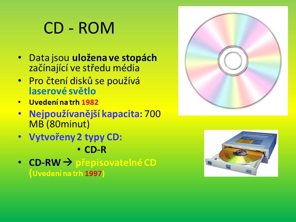 CD - ROM Data jsou uložena ve stopách začínající ve středu média