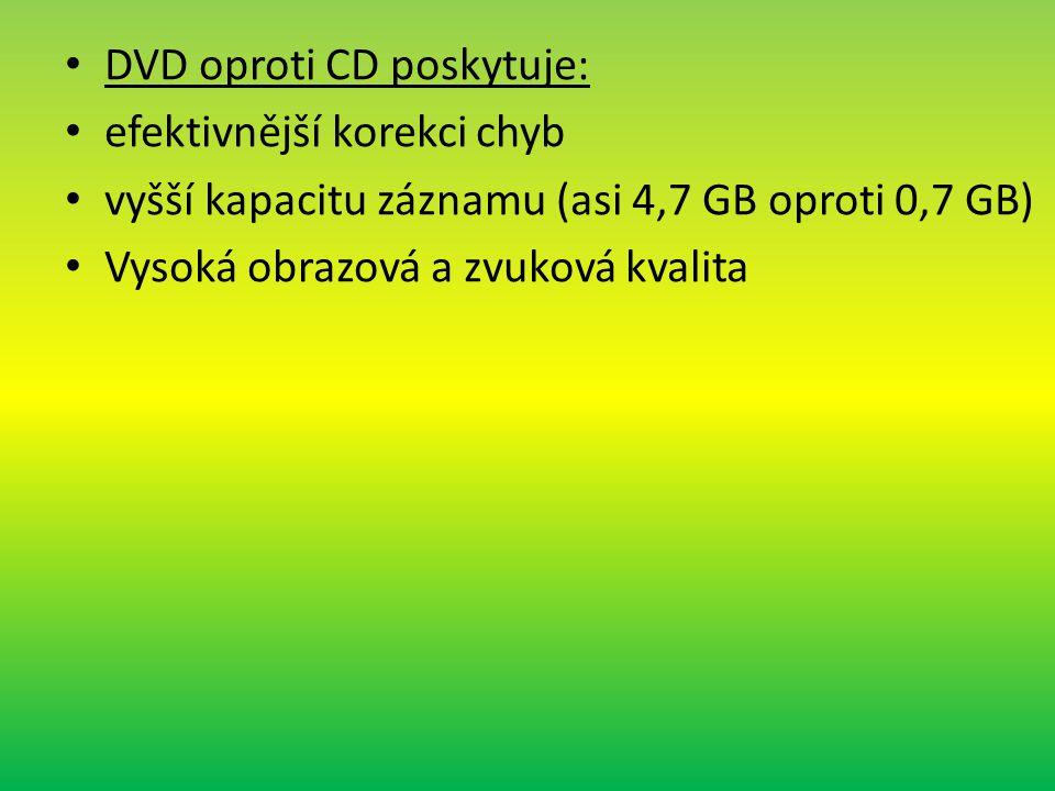 DVD oproti CD poskytuje: