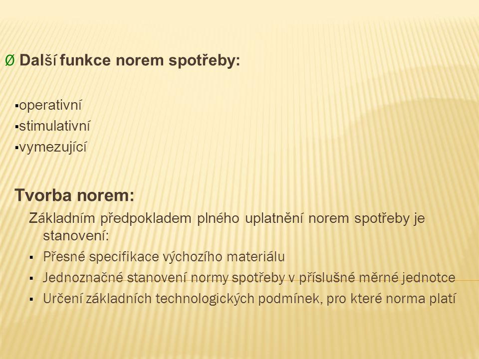 Tvorba norem: Ø Další funkce norem spotřeby: operativní stimulativní