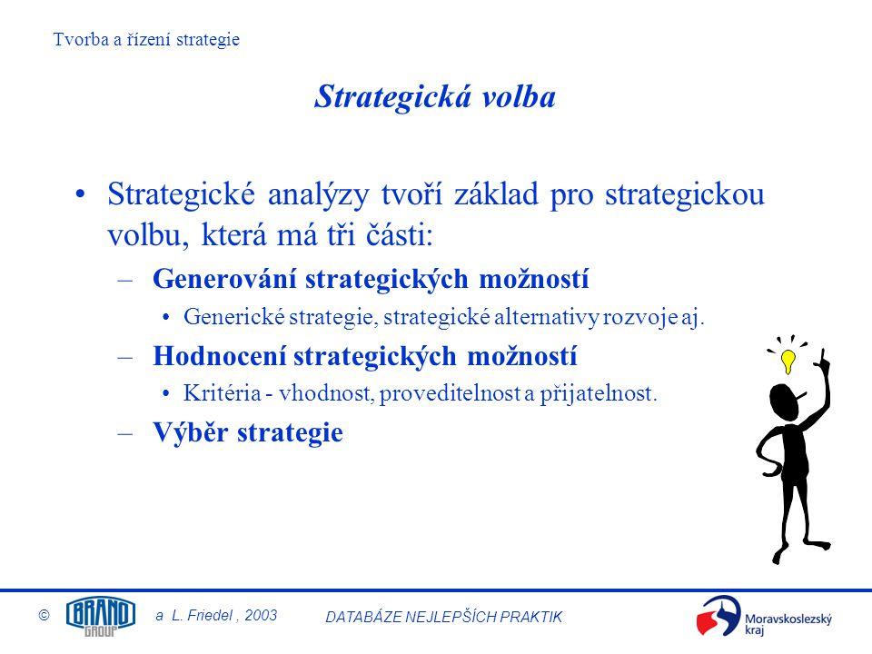 Strategická volba Strategické analýzy tvoří základ pro strategickou volbu, která má tři části: Generování strategických možností.