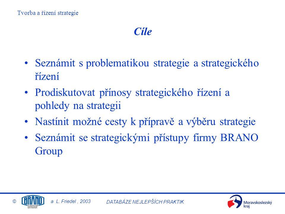 Cíle Seznámit s problematikou strategie a strategického řízení. Prodiskutovat přínosy strategického řízení a pohledy na strategii.