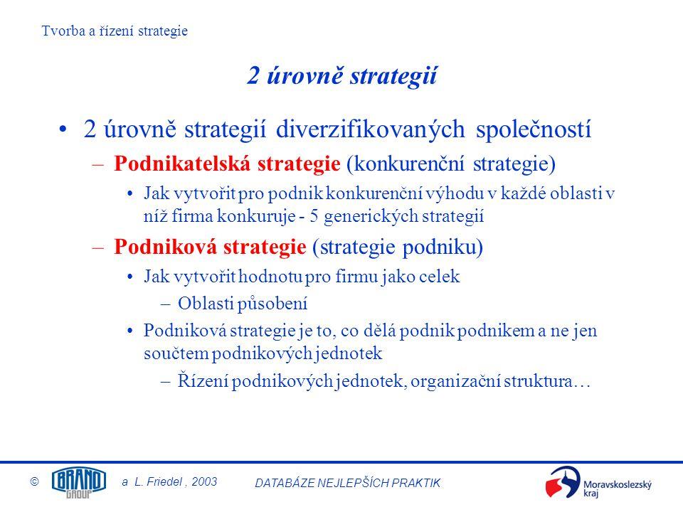 2 úrovně strategií diverzifikovaných společností