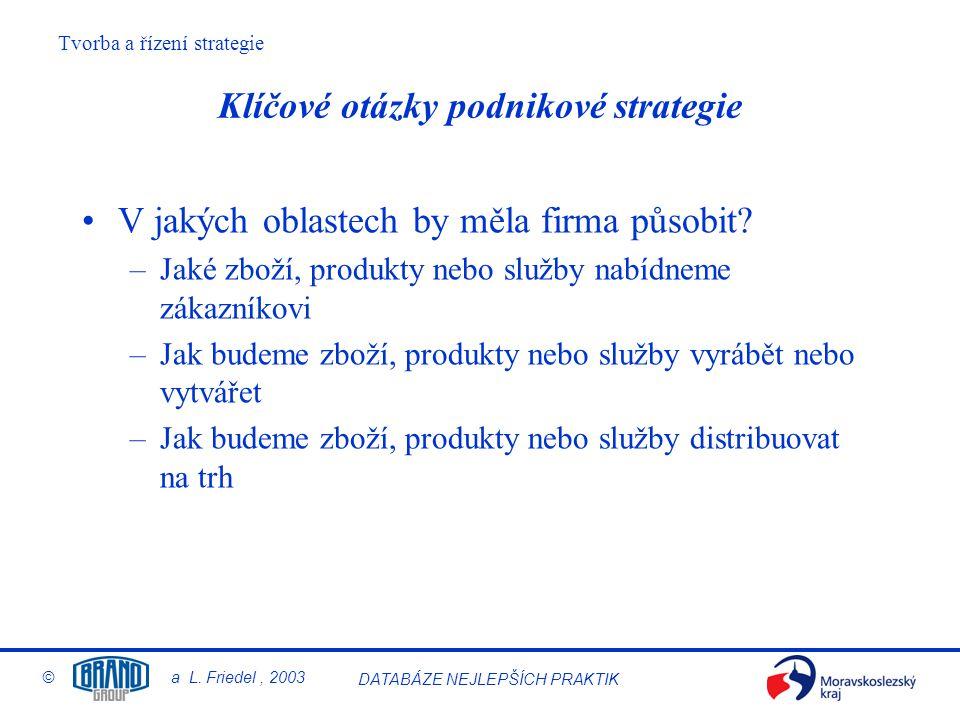 Klíčové otázky podnikové strategie