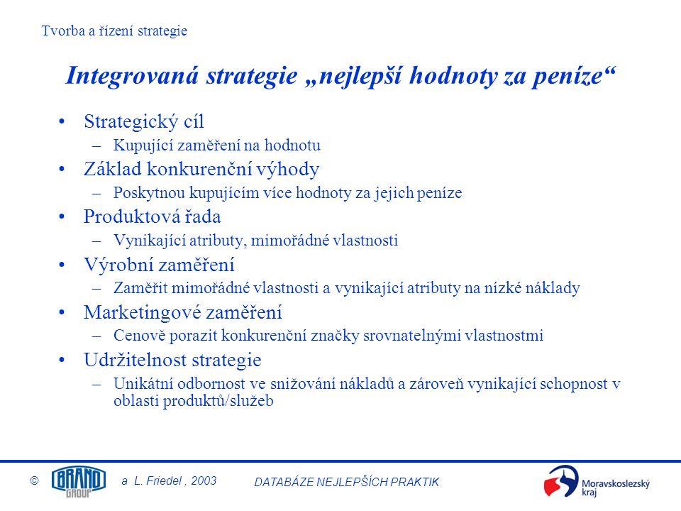 """Integrovaná strategie """"nejlepší hodnoty za peníze"""