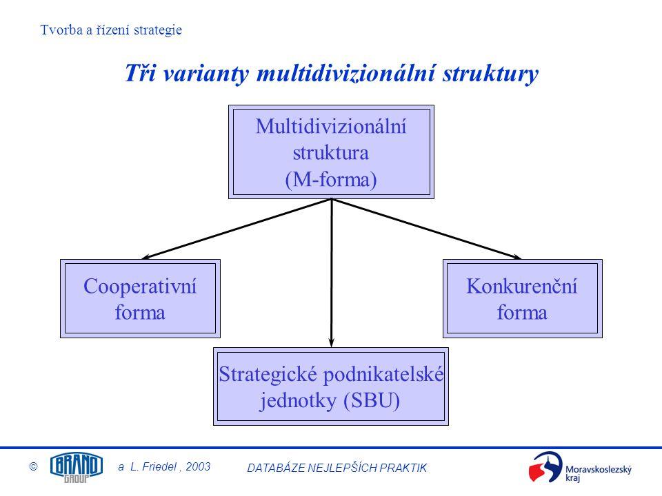 Tři varianty multidivizionální struktury