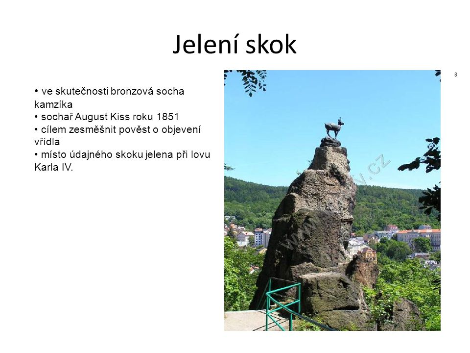 Jelení skok ve skutečnosti bronzová socha kamzíka