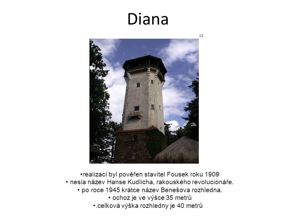 Diana realizací byl pověřen stavitel Fousek roku 1909