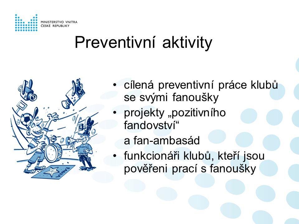 Preventivní aktivity cílená preventivní práce klubů se svými fanoušky