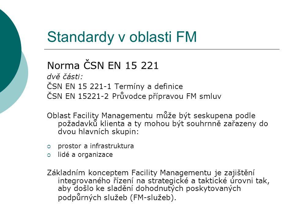 Standardy v oblasti FM Norma ČSN EN 15 221 dvě části: