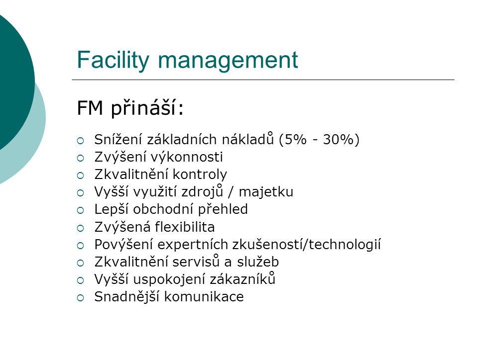 Facility management FM přináší: Snížení základních nákladů (5% - 30%)