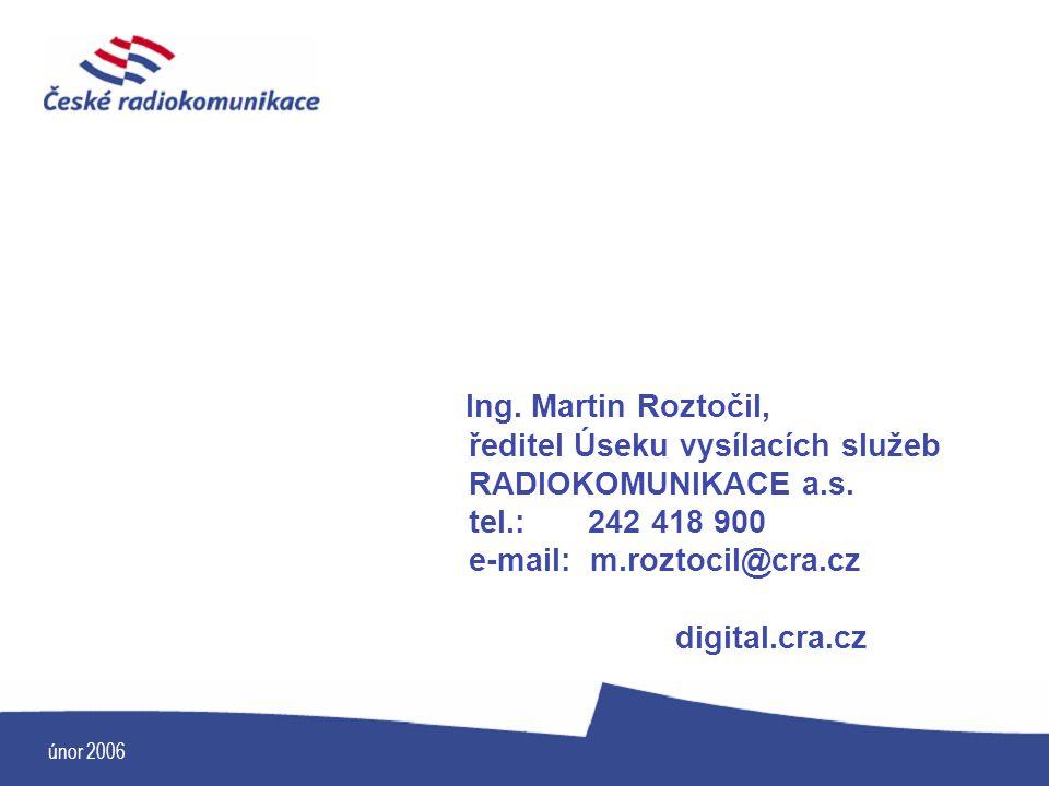 ředitel Úseku vysílacích služeb RADIOKOMUNIKACE a.s. tel.: 242 418 900